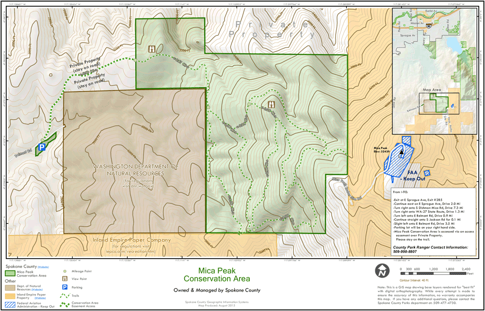 Official Trail Map for Mica Peak Conservation Area